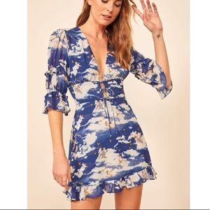 Reformation Laurelei Mini Dress Heaven Blue 0 NWT